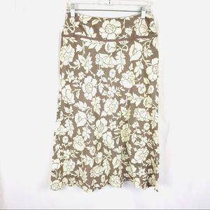 Boden 100% linen floral maxi skirt 10 regular